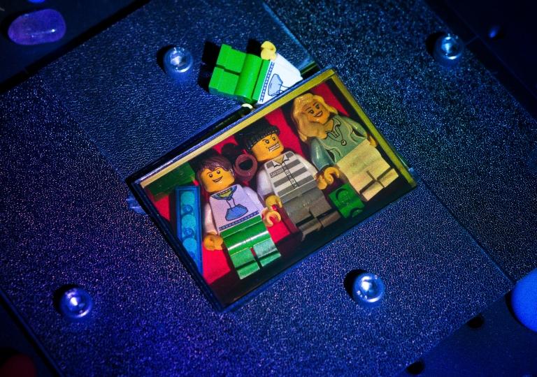 LEGO hologram restored by RGB lasers